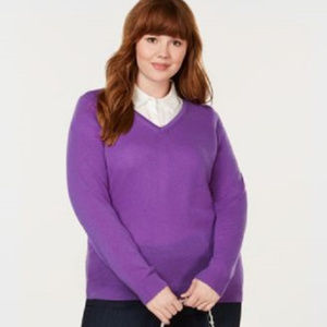 CHARTER CLUB 3X Plus Size Cashmere Sweater V Neck